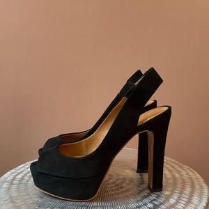 {zara} suede slingback platform heels